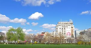 Downtown City View From Union Square Central Park Of Bucharest In Spring. BUCHAREST, ROMANIA - MARCH 08, 2016: Downtown City View From Union Square (Piata Unirii stock video footage