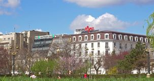 Downtown City View From Union Square Central Park Of Bucharest In Spring. BUCHAREST, ROMANIA - MARCH 08, 2016: Downtown City View From Union Square (Piata Unirii stock video