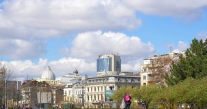 Downtown City View From Union Square Central Park Of Bucharest In Spring. BUCHAREST, ROMANIA - MARCH 08, 2016: Downtown City View From Union Square (Piata Unirii stock footage
