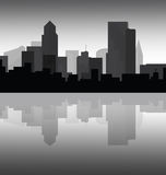 Downtown cityscape at dusk. Grayscale of downtown cityscape reflection during the early hours of evening Royalty Free Stock Photography