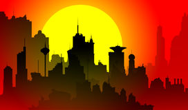 Downtown cityscape at sunset. Silhouette of a downtown cityscape at sunset Royalty Free Stock Photos