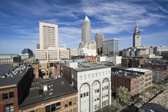Downtown Cleveland. Seen during late autumn stock photography