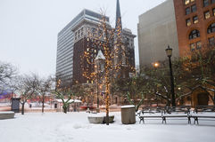 Downtown Cleveland. Decorated During Winter and Ready for Christmas royalty free stock photo
