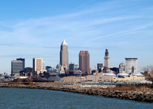 Downtown Cleveland. Skyline from a waterfront park stock photo