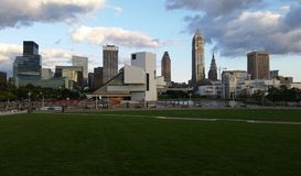 Cleveland Skyline. Cleveland, Ohio skyline with Rock and Roll Hall of Fame in foreground Stock Photography