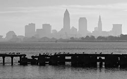 Downtown Cleveland Ohio and Lake Erie. Cleveland is a major city in Ohio on the shores of Lake Erie. Landmarks dating to its days as a turn-of-the-20th-century Royalty Free Stock Photo