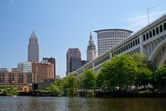 Downtown Cleveland Ohio Skyline. Cleveland Ohio skyline with bridge in Cleveland Flats area stock photo