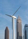 Downtown Cleveland Skyine with Wind Turbine Stock Photo