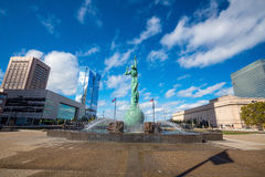 Downtown Cleveland skyline and Fountain of Eternal Life Statue Stock Image