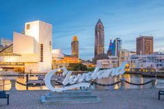 Downtown Cleveland skyline from the lakefront. CLEVELAND, OH - OCTOBER 31: Downtown Cleveland skyline from the lakefront in Ohio USA on October 31, 2016 royalty free stock photography