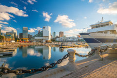 Downtown Cleveland skyline from the lakefront Royalty Free Stock Images