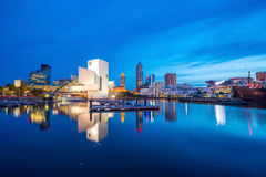 Downtown Cleveland skyline from the lakefront. In Ohio USA royalty free stock photo