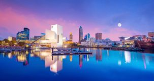 Downtown Cleveland skyline from the lakefront. In Ohio USA stock images