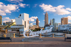 Downtown Cleveland skyline. CLEVELAND, OH - August 29: Downtown Cleveland skyline from the lakefront in Ohio USA on Royalty Free Stock Photo