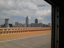 Downtown Cleveland Skyline. Picture of the downtown Cleveland skyline taken aboard a local trolley stock photography