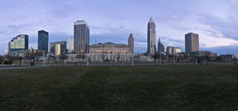 Downtown Cleveland at sunset Stock Images