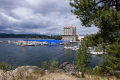 Downtown Coeur d'Alene at the lake. Royalty Free Stock Images