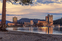 Downtown Coeur d'Alene late in day. Royalty Free Stock Images