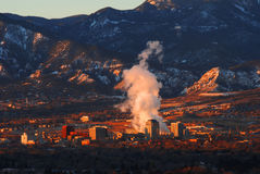 Downtown Colorado Springs. Nestled in the shadow of pikes peak, downtown Colorado Springs, Colorado, early morning Stock Photo