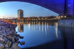 Downtown Columbus, Ohio at dusk stock photography