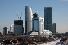 Downtown construction. Winter Buildings. Moscow downtown construction Royalty Free Stock Images
