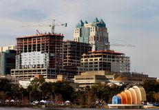 Downtown construction in Orlando. Construction in downtown Orlando, Florida with view of Lake Eola Royalty Free Stock Photo