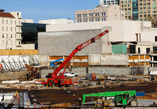Downtown Construction Site Ground Floor With Cranes Royalty Free Stock Photo