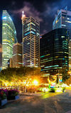 Downtown Core on Marina Bay in Singapore at night Royalty Free Stock Images