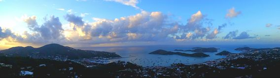 Downtown Charlotte Amalie. Panoramic shot of downtown Charlotte Amalie, St. Thomas Virgin Islands at sunrise Royalty Free Stock Images