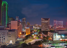 Downtown Dallas from above at night. Showing many famous buildings Royalty Free Stock Photos