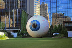 Downtown Dallas: Eye sculpture on main street Royalty Free Stock Photos