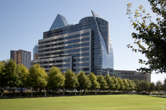 Downtown  Dallas has seen from Klyde Warren Park Stock Images