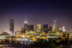 Downtown Dallas Illuminated Stock Photo