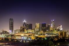 Downtown Dallas Illuminated. Night View of Dallas Skyline Stock Photo