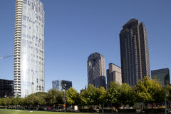 Downtown Dallas and Klyde Warren Park Royalty Free Stock Image