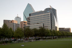 Downtown Dallas and  Klyde Warren Park on sunset Royalty Free Stock Photos