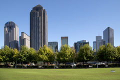 Downtown Dallas and Klyde Warren Park view. Klyde Warren Park and modern buildings in city Dallas, TX USA Royalty Free Stock Photo
