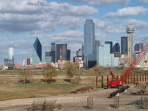 Downtown Dallas looking East from Margaret McDermott Bridge Site Royalty Free Stock Images
