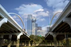 Downtown Dallas and The Margaret Mc-bermott Bridge Stock Photography