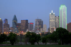Downtown Dallas  skyline night scenes Royalty Free Stock Images