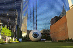 Downtown Dallas: Giant Eye Sculpture on Main Stree Stock Photo