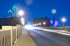 Downtown Dallas, Texas skyline at night from the Commerce Bridge. Downtown Dallas, Texas skyline at night including the famous towers, taken from the Commerce Stock Image