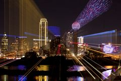 Downtown Dallas, Texas zoom abstract stock photo