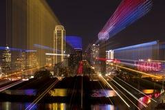 Downtown Dallas, Texas zoom abstract stock photos