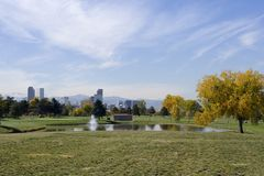 Downtown Denver. From City Park golf course Royalty Free Stock Photography
