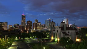Downtown Denver and Auraria Campus at Nightfall stock video