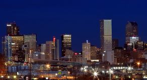 Downtown Denver, Colorado, at night royalty free stock photography