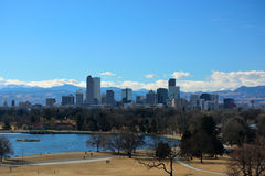 Downtown Denver, Colorado Skyscrapers with the Rocky Mountains i Stock Photos