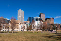 Downtown Denver in Daytime. A sunny winter day in downtown Denver, Colorado, from Civic Center Park Royalty Free Stock Image