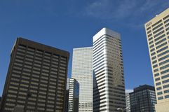 Downtown Denver sky scrapers. High rise buildings from the streets of Denver Colorado Stock Image